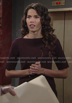 Marisa's burgundy boat neck dress on The Young and the Restless
