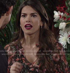 Marisa's butterfly print dress with metallic thread on The Young and the Restless