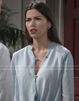 Marisa's blue wrap blouse on The Young and the Restless