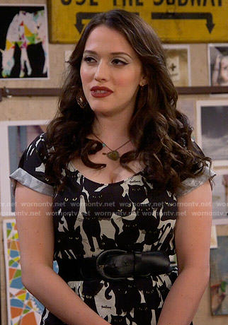 Max's cat print top on 2 Broke Girls