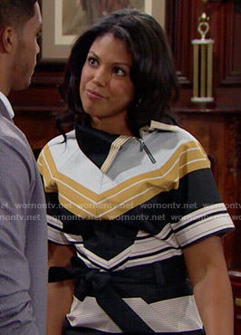 Maya's yellow striped dress on The Bold and the Beautiful