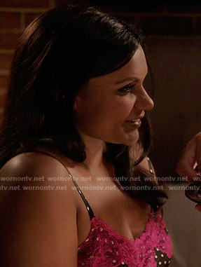 Mindy's black and pink polka dot chemise on The Mindy Project