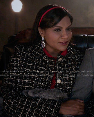 Mindy's black tweed coat on The Mindy Project