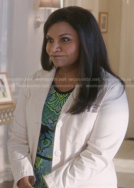 Mindy's blue and green patterned dress on The Mindy Project