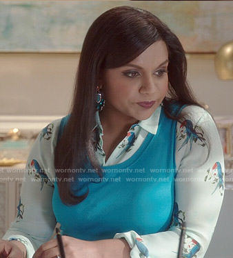 Mindy's mint bird print blouse on The Mindy Project