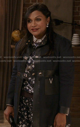 Mindy's navy leather trimmed coat on The Mindy Project