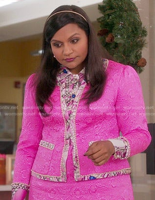 Mindy's pink jacket and skirt with pearl print shirt on The Mindy Project