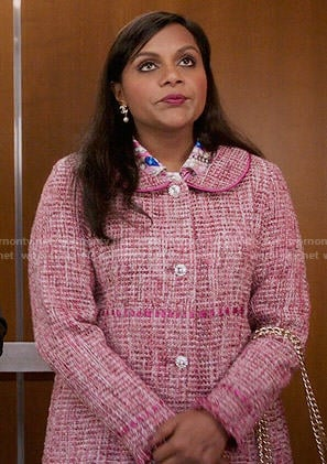 Mindy's pink tweed coat on The Mindy Project