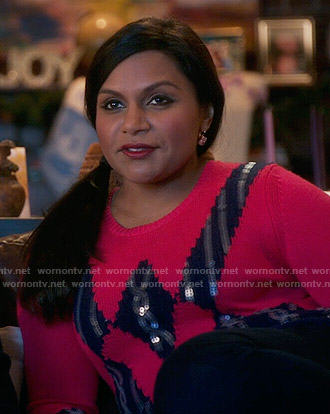 Mindy's red geometric sequined sweater on The Mindy Project