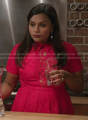 Mindy's red lace collared dress on The Mindy Project