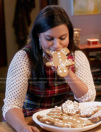 Mindy's red plaid dress and heart print shirt on The Mindy Project