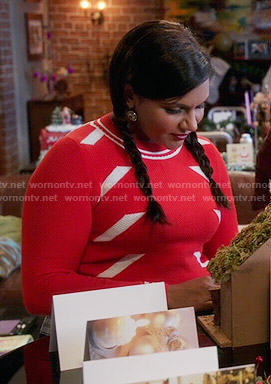Mindy's red sweater with white diagonal stripes on The Mindy Project