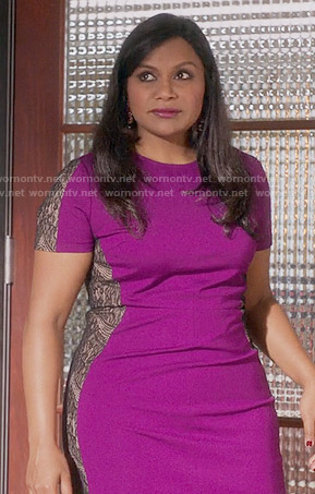 Mindy's purple lace panel dress on The Mindy Project