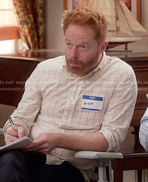 Mitchell's off-white windowpane checked shirt on Modern Family