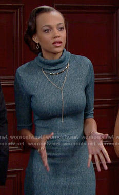 Nicole's blue turtleneck dress on The Bold and the Beautiful