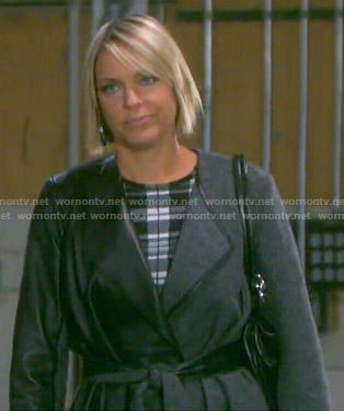 Nicole's plaid dress and half-leather coat on Days of our Lives