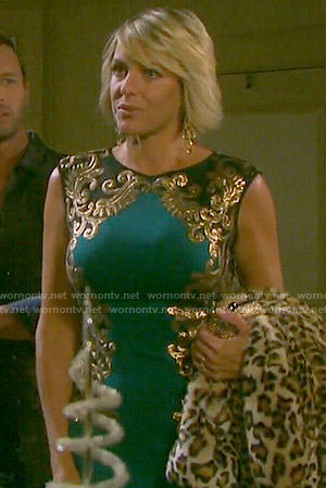 Nicole's teal green dress with gold embroidery on Days of our Lives