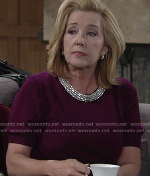 Nikki's purple sweater with embellished neckline on The Young and the Restless