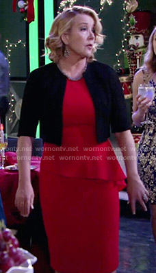 Nikki's red peplum dress with embellished neckline on The Young and the Restless
