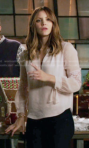 Paige's blouse with lace inset sleeves on Scorpion