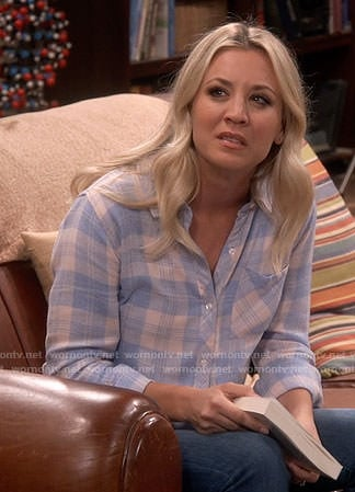 Penny's pink and blue plaid shirt on The Big Bang Theory