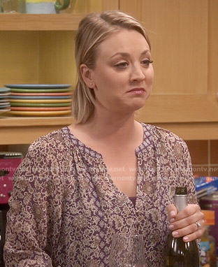 Penny's purple printed blouse on The Big Bang Theory