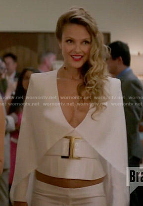 Phoebe's white caped top and trousers on Girlfriends Guide to Divorce