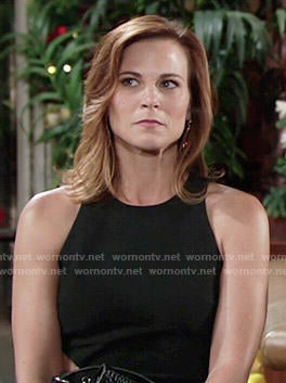 Phyllis's black dress with side cutout on The Young and the Restless