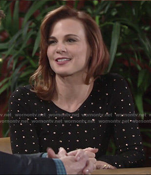 Phyllis's black studded long sleeve dress on The Young and the Restless