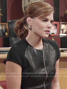 Phyllis's black leather zip-front top on The Young and the Restless