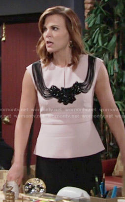 Phyllis's pink peplum top with fringed back on The Young and the Restless