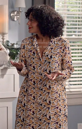 Rainbow's printed shirtdress on Black-ish