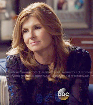 Rayna's blue embroidered blouse on Nashville