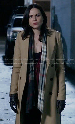 Regina's long camel coat and checked scarf on Once Upon a Time