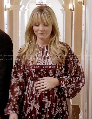 Rhonda's burgundy floral dress on Empire
