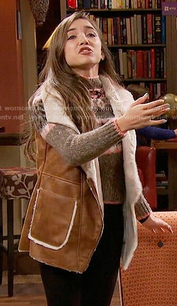 Riley's fair isle sweater and shearling vest on Girl Meets World