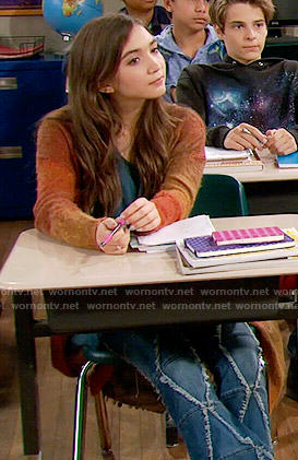 Riley's frayed pattern jeans and orange cardigan on Girl Meets World