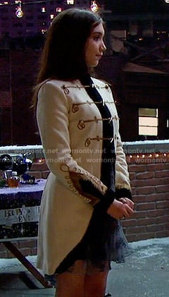 Riley's white military style coat on Girl Meets World