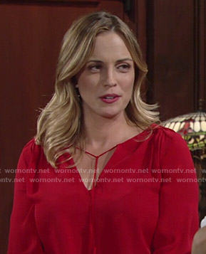 Sage's red tie-neck blouse on The Young and the Restless