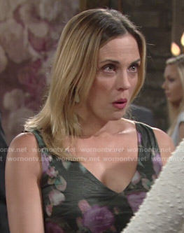 Sage's floral v-neck dress on The Young and the Restless