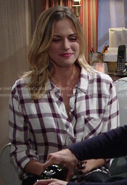 Sage's white checked shirt on The Young and the Restless
