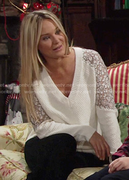 Sharon's white v-neck sweater with lace sleeves on The Young and the Restless