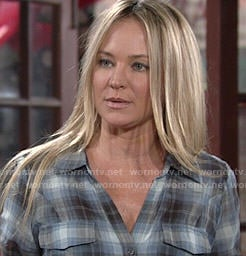 Sharon's blue plaid shirt on The Young and the Restless