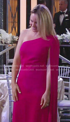 Sharon's pink asymmetric caped sleeve gown at Abby's wedding on The Young and the Restless