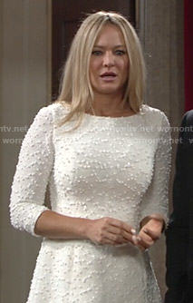 Sharon's white textured dress on The Young and the Restless
