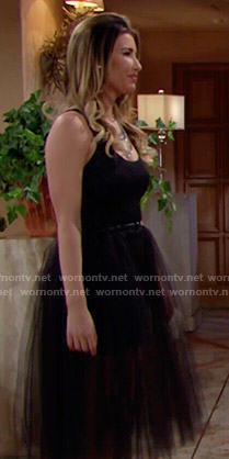 Steffy's black tulle skirted dress on The Bold and the Beautiful