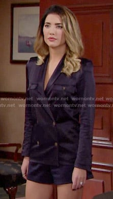 Steffy's navy blue double breasted shirt on The Bold and the Beautiful