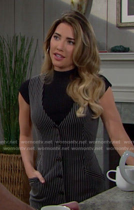 Steffy's pinstriped dress and black top on The Bold and the Beautiful