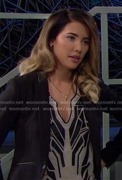 Steffy's white top with black leather geometric pattern on The Bold and the Beautiful