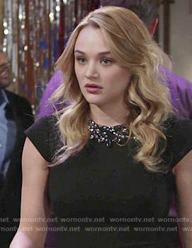 Summer's black embellished neck playsuit on The Young and the Restless